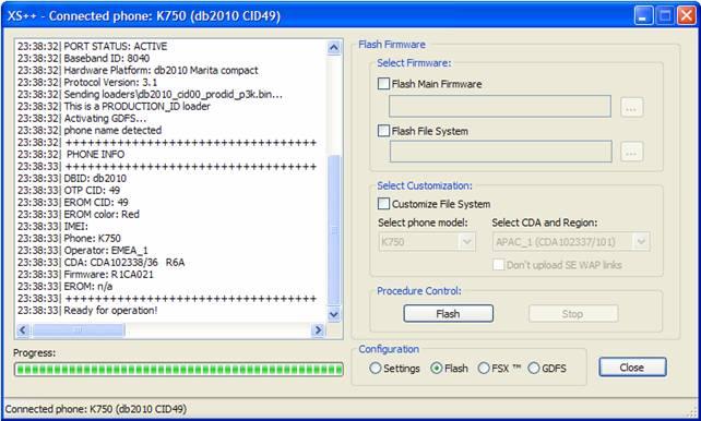 k750i cid49 flash files